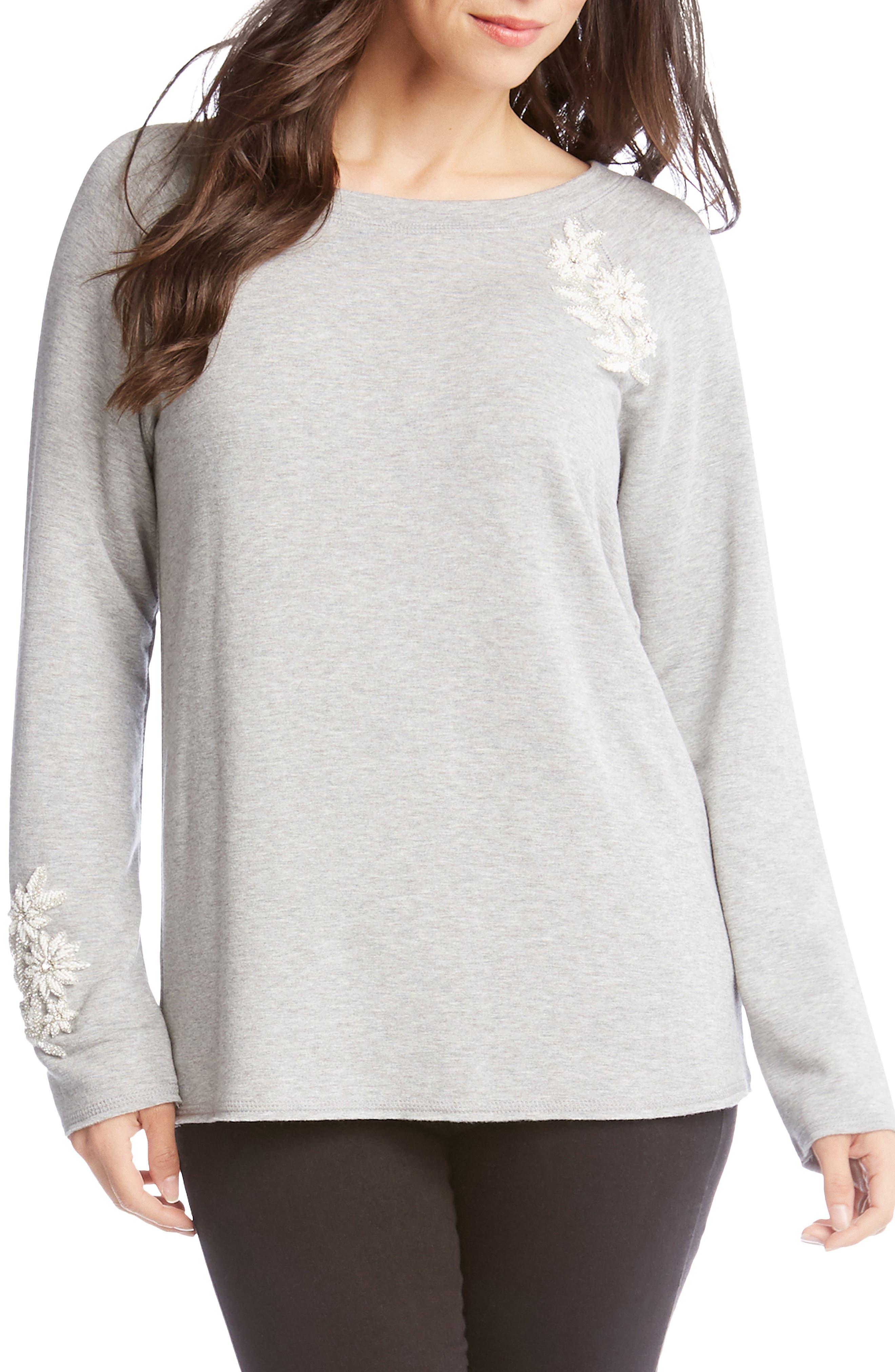 Embellished Sweatshirt, Main, color, LIGHT HEATHER GREY
