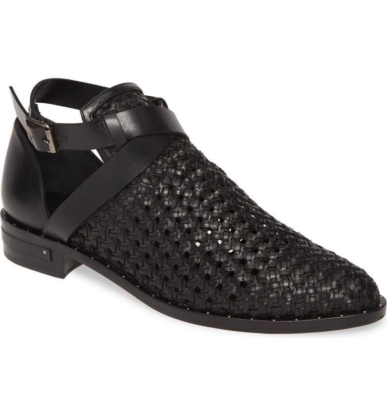 FREDA SALVADOR Spark Woven Ankle Strap Bootie, Main, color, BLACK HANDWOVEN CALF