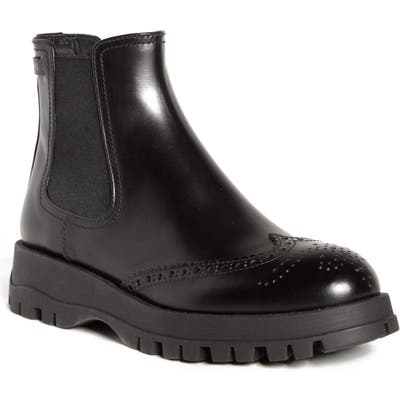Prada Lug Sole Chelsea Boot, Black