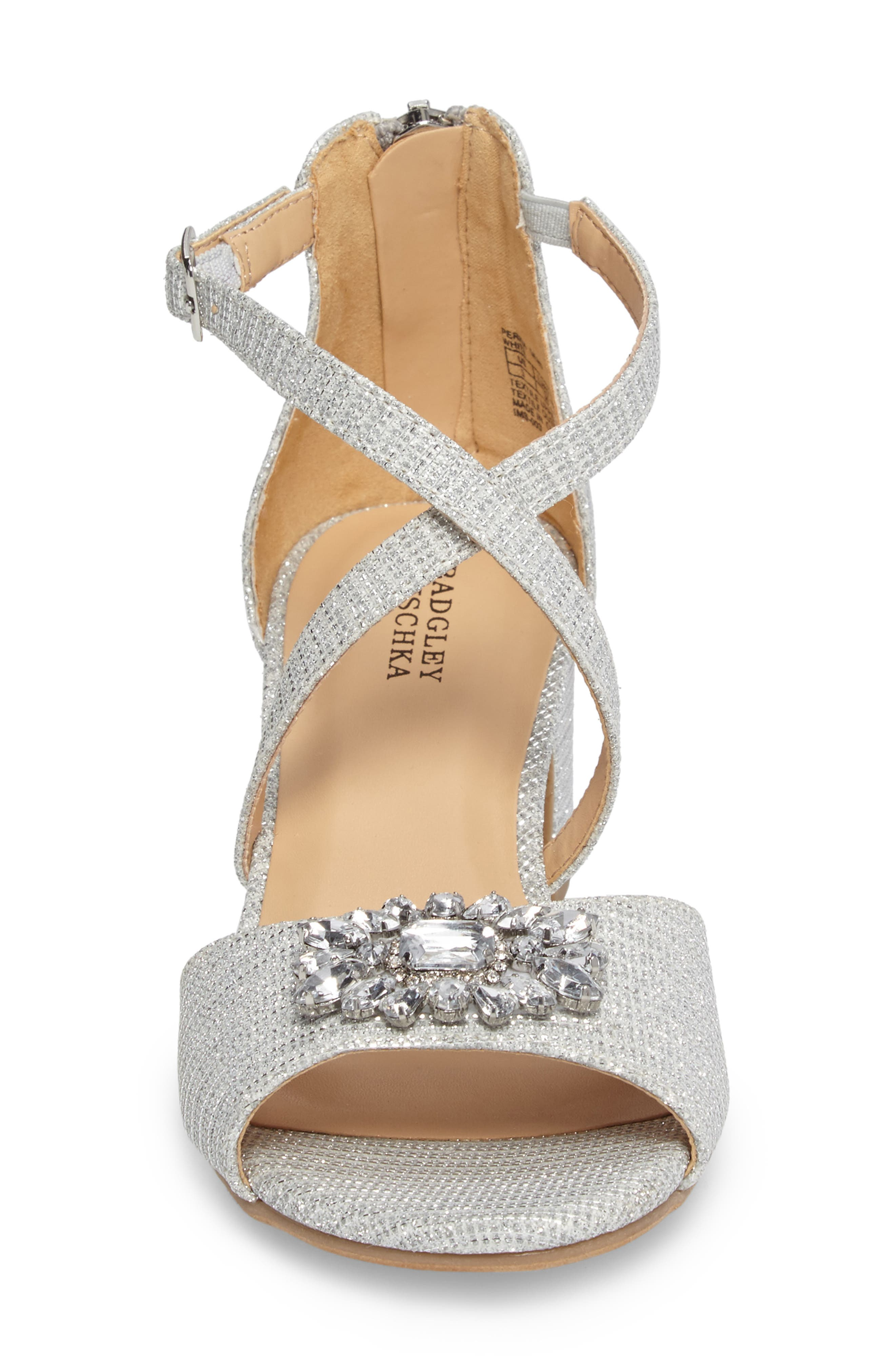 ,                             Badgley Mischka Pernia Gems Sandal,                             Alternate thumbnail 4, color,                             WHITE