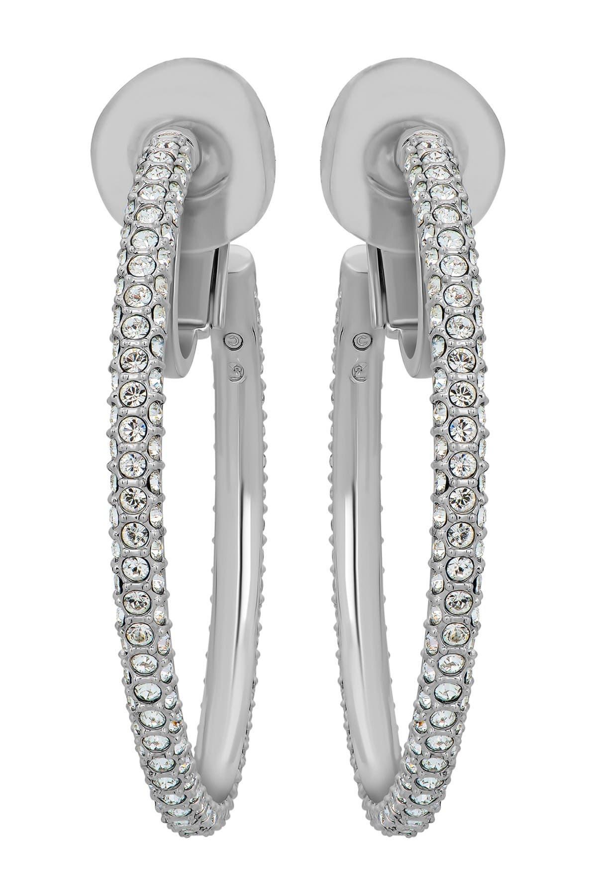 Image of Swarovski Stone Rhodium-Plated Clear Swarovski Crystal Clip-On Hoop Earrings