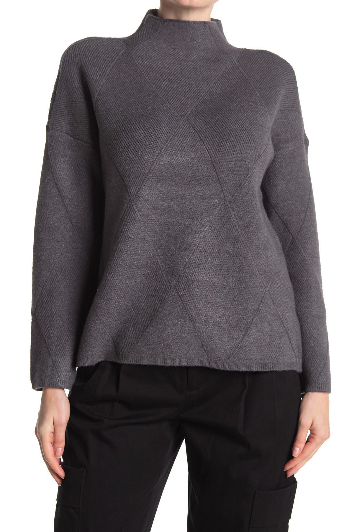 Image of Cyrus Diamond Argyle Mock Neck Sweater