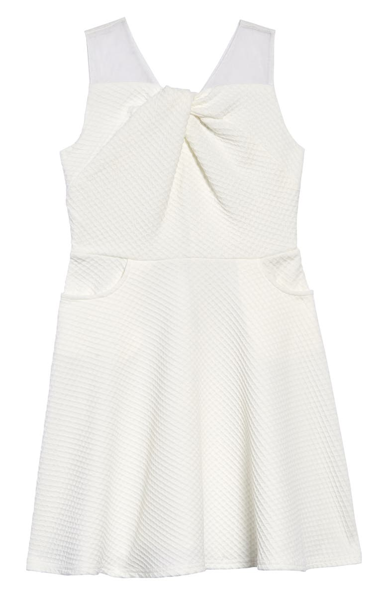 BLUSH BY US ANGELS Texture Knit Fit & Flare Dress, Main, color, IVORY