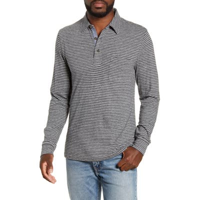 Faherty Luxe Regular Fit Stripe Long Sleeve Polo Shirt, Grey