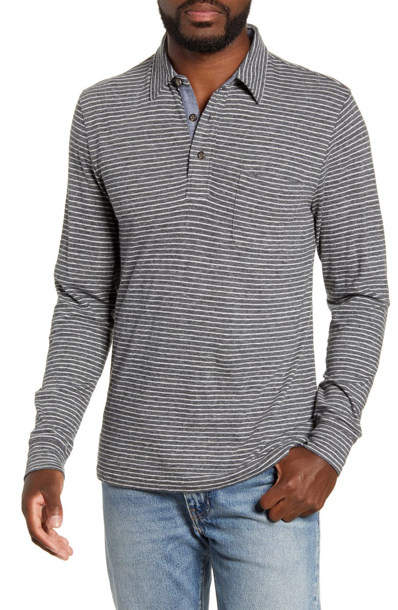 FAHERTY Luxe Regular Fit Stripe Long Sleeve Polo Shirt, Main, color, CHARCOAL GREY STRIPE