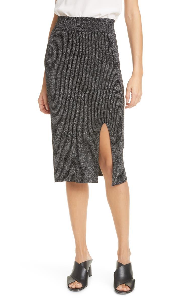 CLUB MONACO Metallic Rib Sweater Skirt, Main, color, 001