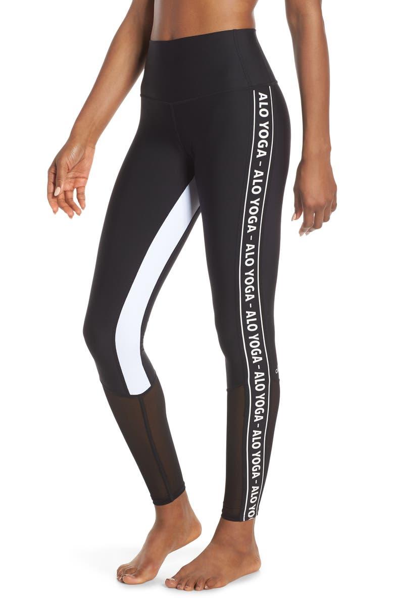 391aa518f33681 High Waist Trainer Leggings, Main, color, BLACK/ WHITE