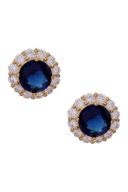Image of Savvy Cie 18K Yellow Gold Plated Prong Set Created Sapphire Pave Halo CZ Stud Earrings
