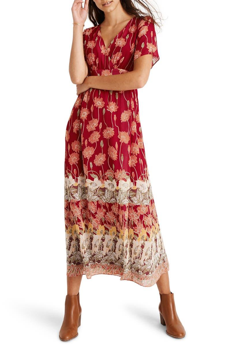 Madewell Tall Sunflowers Tulip Sleeve Maxi Dress