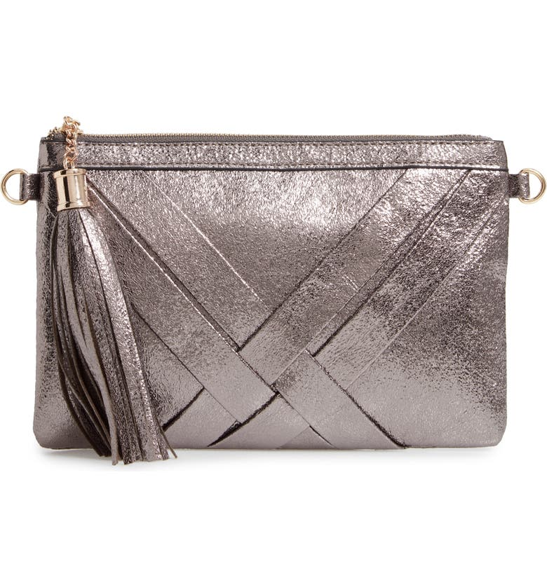 MALIBU SKYE Metallic Woven Faux Leather Shoulder Bag, Main, color, PEWTER