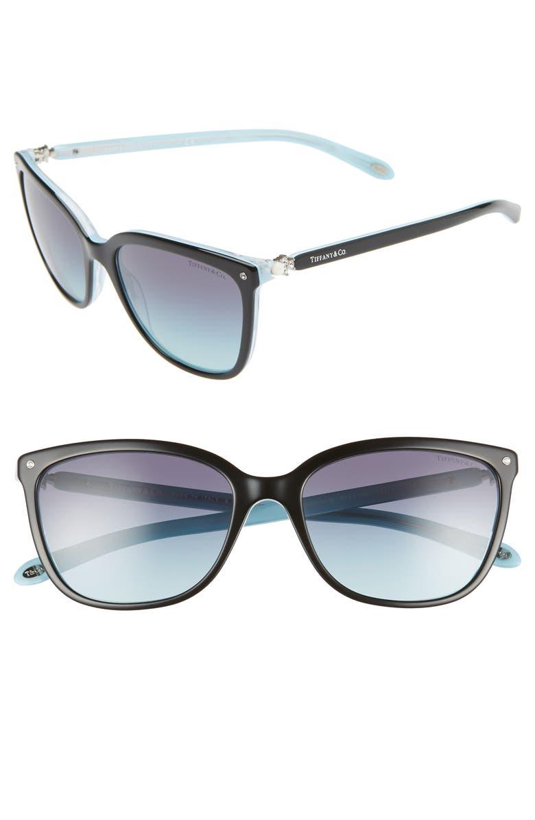 TIFFANY & CO. 55mm Mirrored Square Sunglasses, Main, color, 001