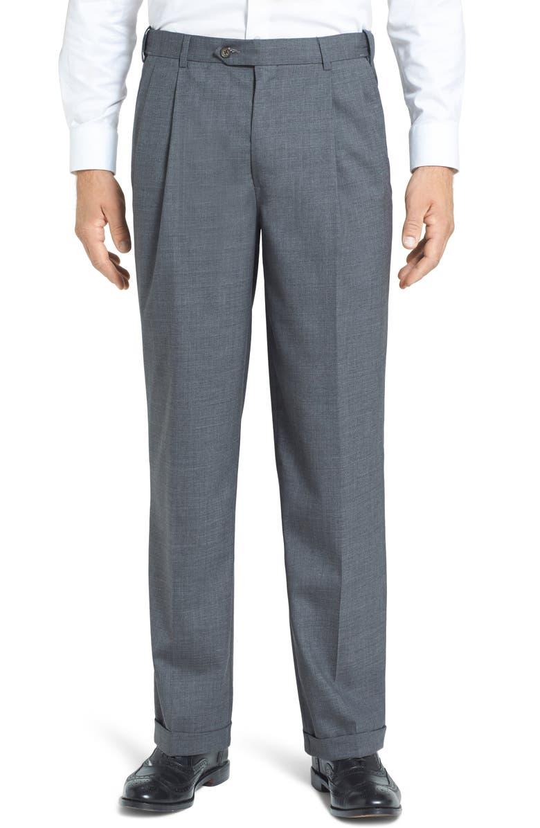BERLE Self Sizer Waist Pleated Classic Fit Wool Gabardine Trousers, Main, color, MEDIUM GREY