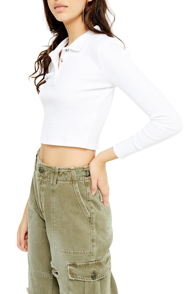 TOPSHOP Long Sleeve Crop Polo Shirt, Main, color, WHITE