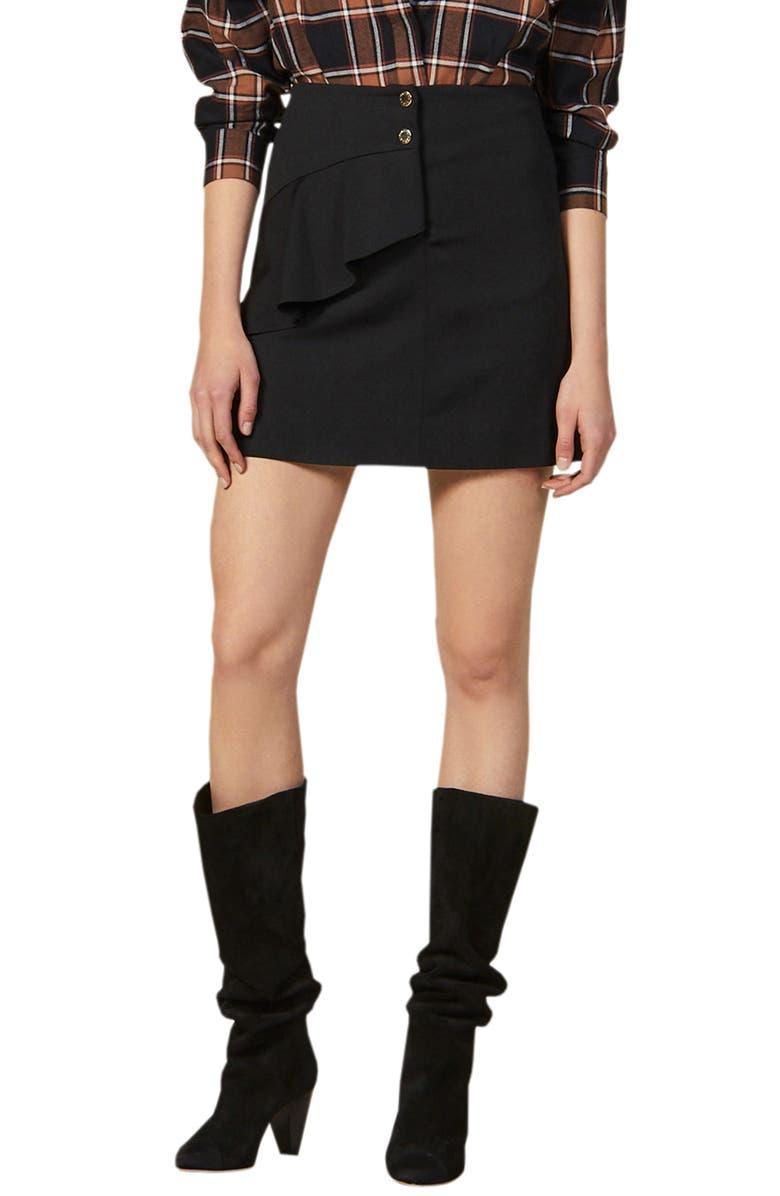 SANDRO Janne Ruffle Detail Miniskirt, Main, color, BLACK