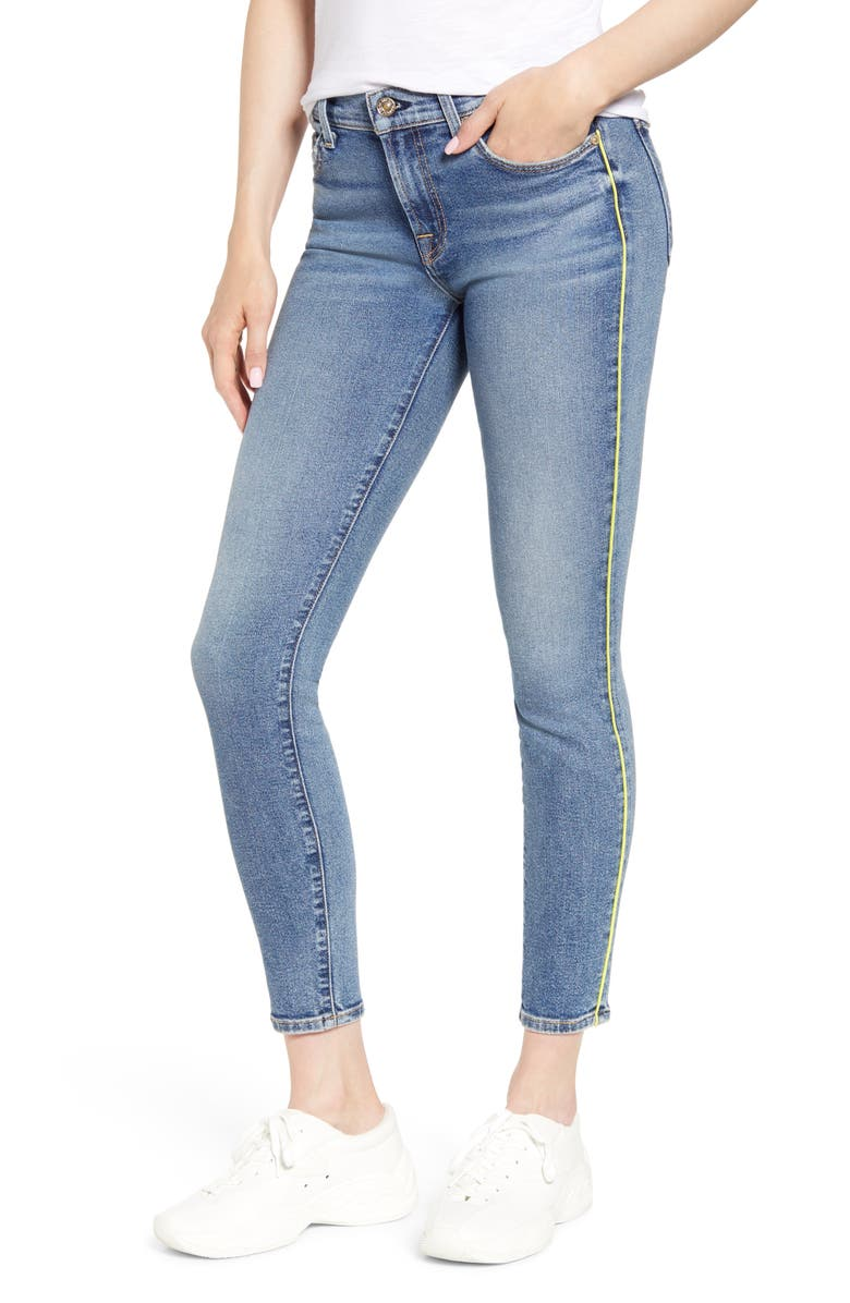 7 FOR ALL MANKIND<SUP>®</SUP> Piped Ankle Skinny Jeans, Main, color, 400