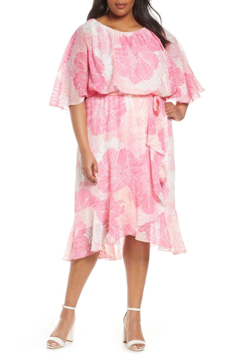 MAISON TARA Floral Flutter Sleeve Clip Dot Chiffon Blouson Dress, Main, color, 650