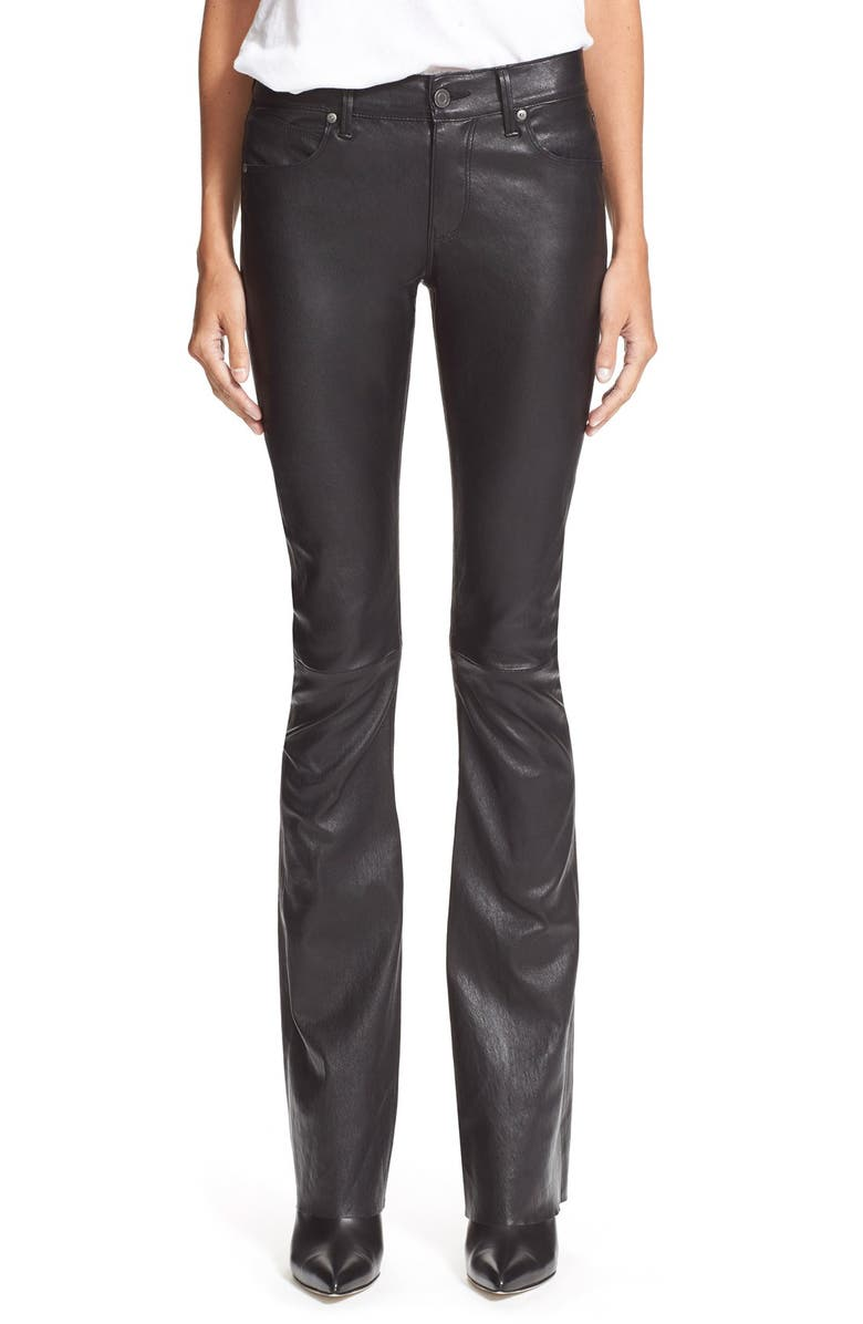 100% high quality top fashion preview of 'Jackson' Flare Lambskin Leather Pants
