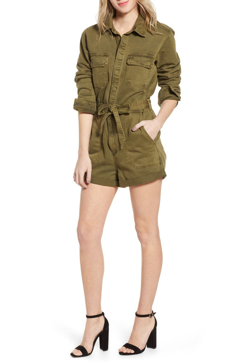 BLANKNYC Belted Utility Romper, Main, color, STICKS AND STONES