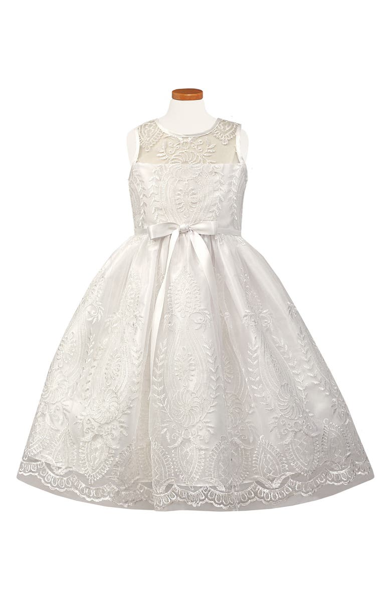 SORBET Embroidered First Communion Dress, Main, color, 100