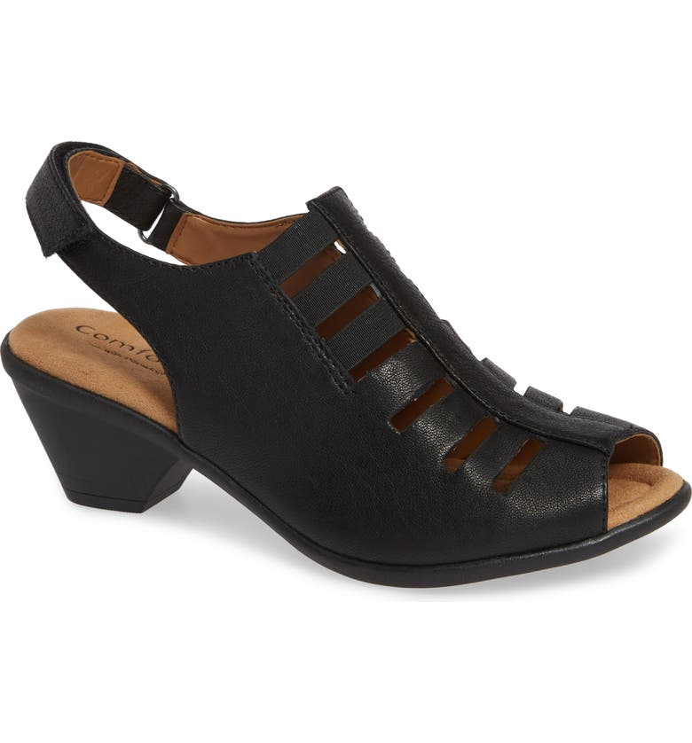 COMFORTIVA Faye Sandal, Main, color, BLACK LEATHER