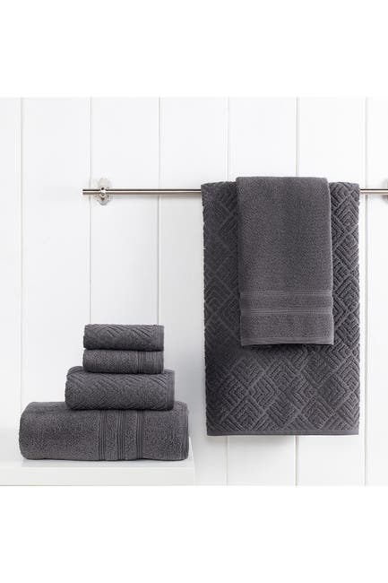 Image of Modern Threads Jacquard Turkish Made 6-Piece Towel Set - Coal