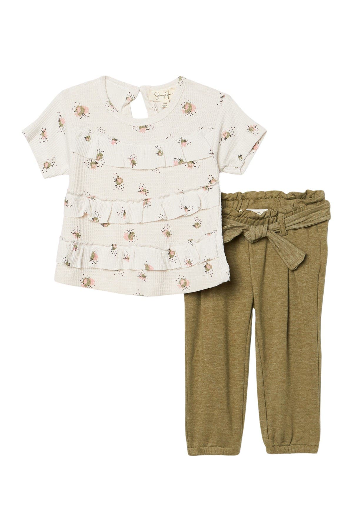 Image of Jessica Simpson Short Sleeve Printed Thermal Knit Top & Pants 2-Piece Set