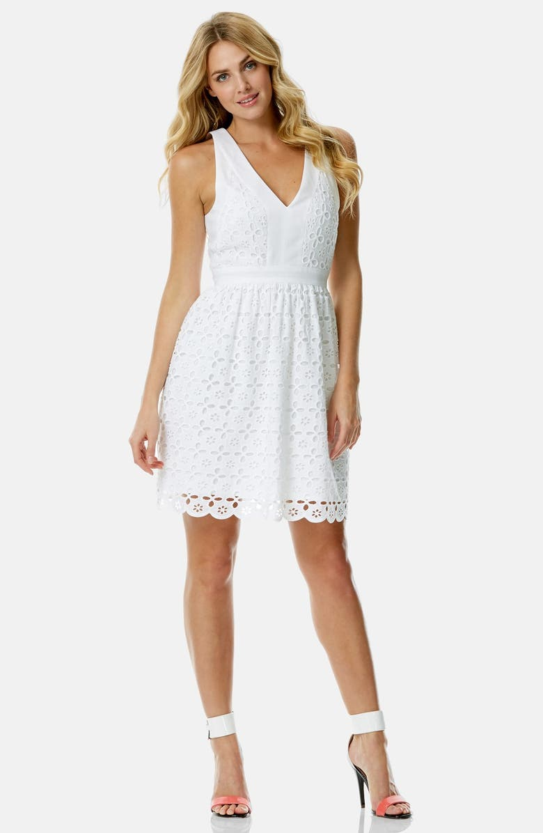 LAUNDRY BY SHELLI SEGAL Eyelet V-Neck Fit & Flare Dress, Main, color, 140