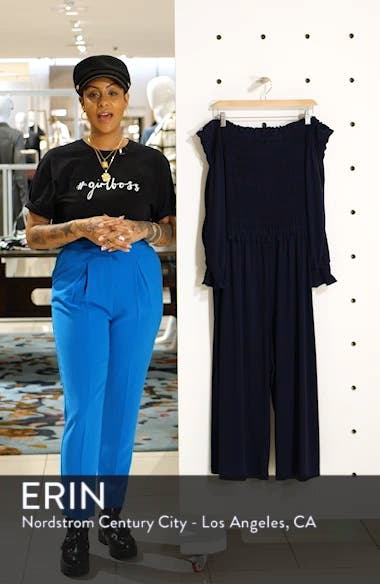 Long Sleeve Off the Shoulder Smocked Jumpsuit, sales video thumbnail
