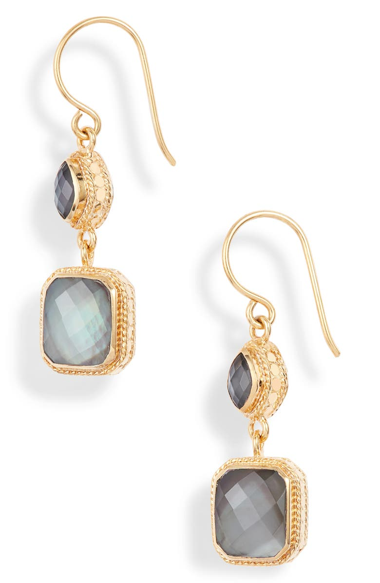ANNA BECK Double Drop Stone Earrings, Main, color, GOLD/ GREY QUARTZ