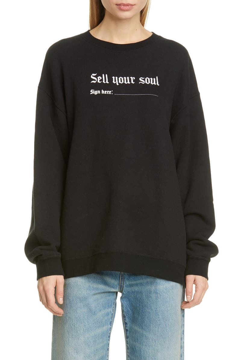 R13 Sell Your Soul Sweatshirt, Main, color, BLACK