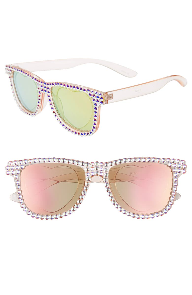 RAD + REFINED Summer of Love Sunglasses, Main, color, PINK/ CRYSTAL