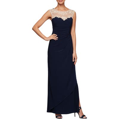 Petite Alex Evenings Side Ruched Gown, Blue