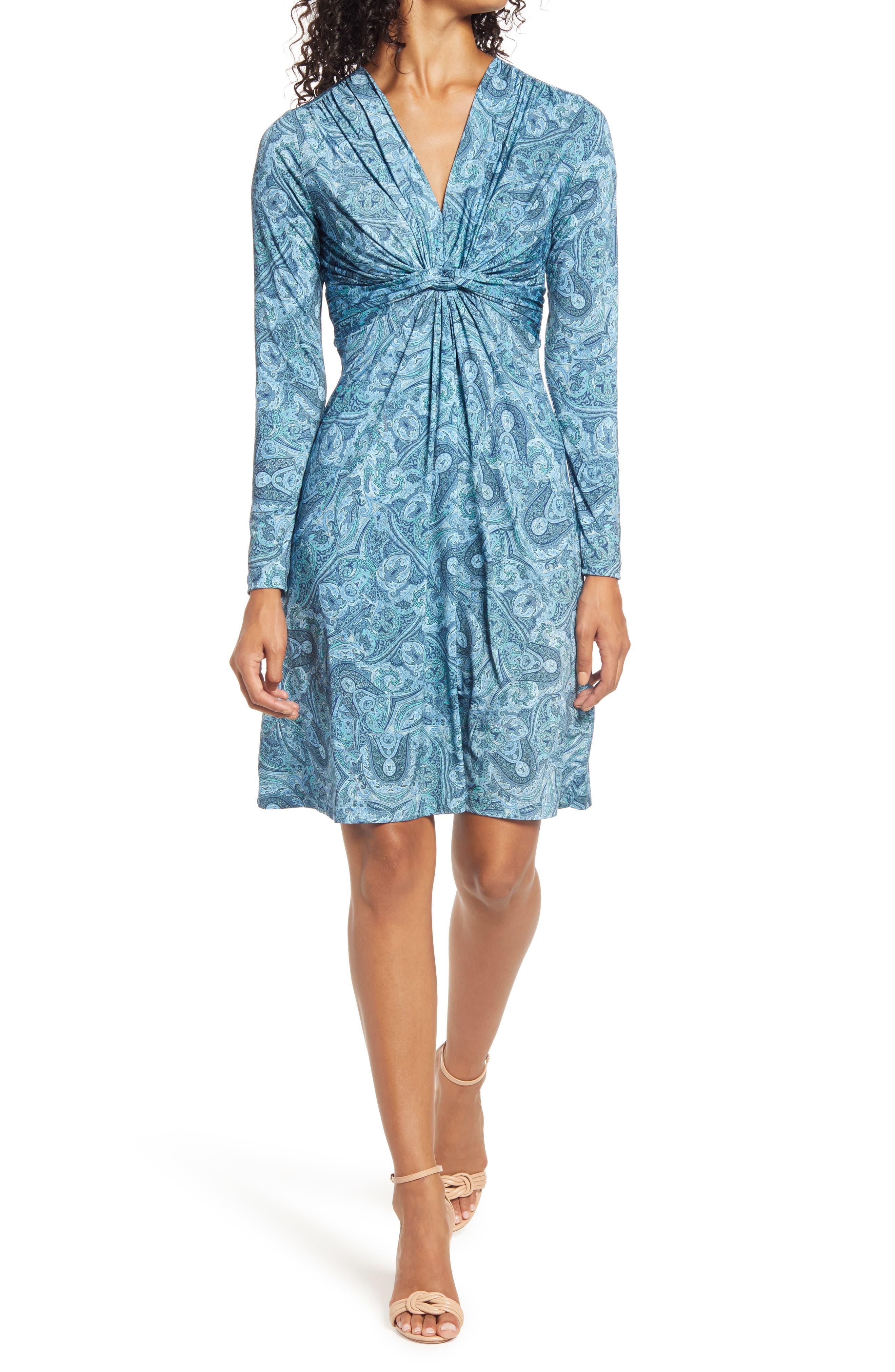 Paisley Print Twist Front Long Sleeve Jersey Dress