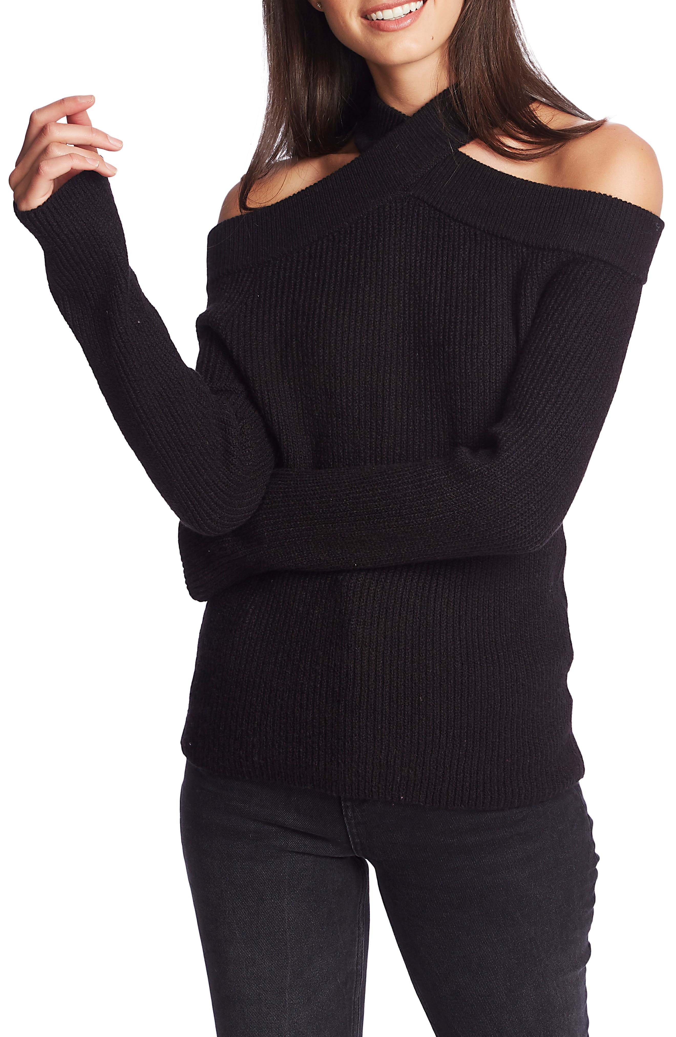 Image of 1.State Cross Neck Cold Shoulder Cotton Blend Sweater