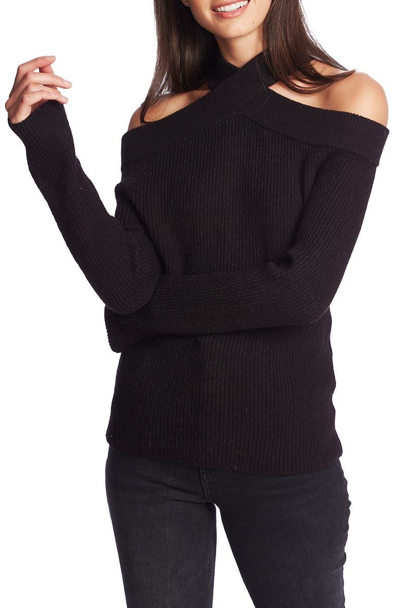 1.STATE Cross Neck Cold Shoulder Cotton Blend Sweater, Main, color, RICH BLACK