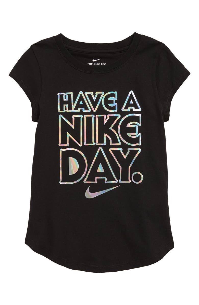 NIKE Have a Nike Day Iridescent Tee, Main, color, BLACK