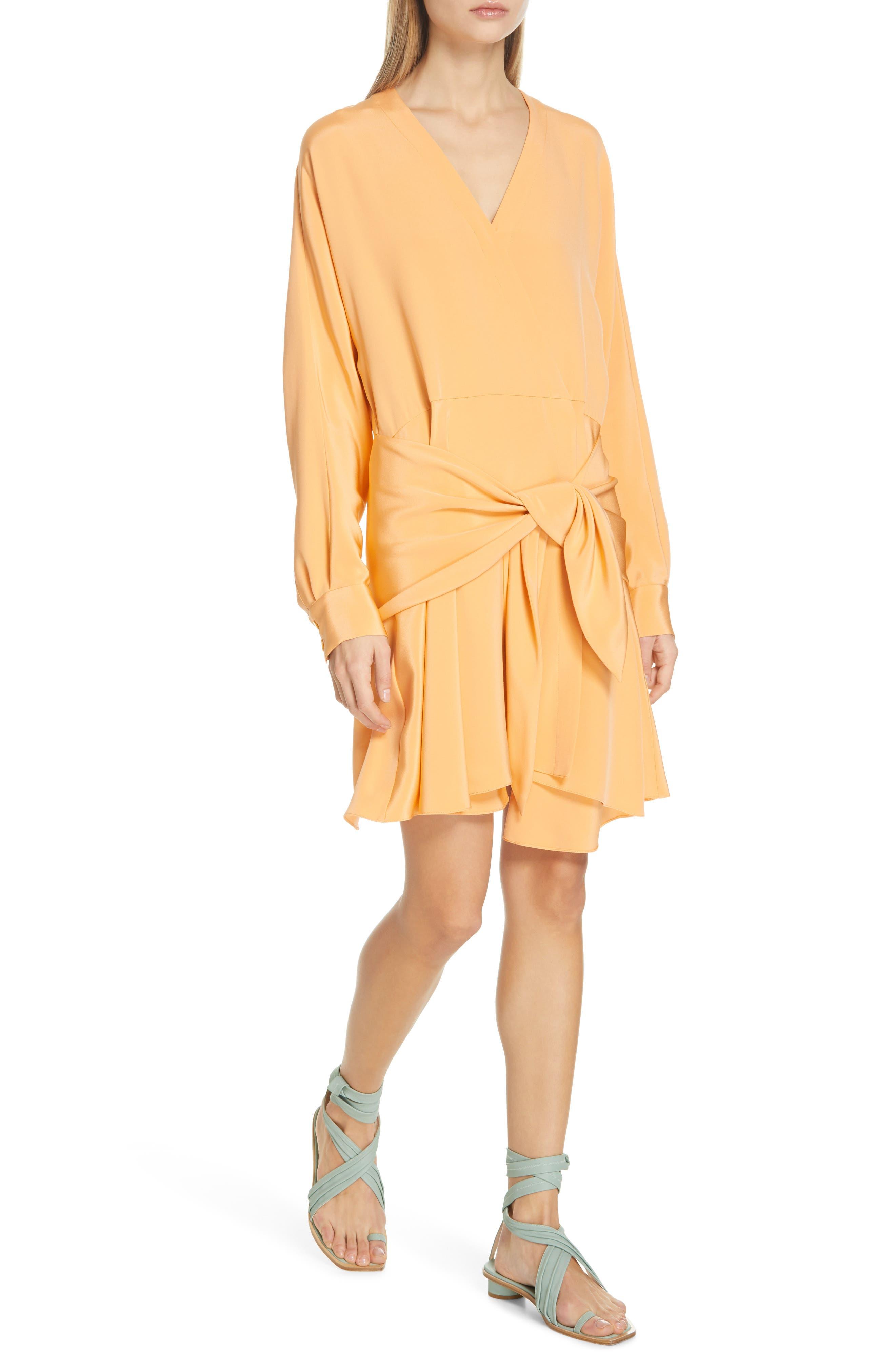 Tibi Shark Bite Hem Long Sleeve Silk Minidress, Orange