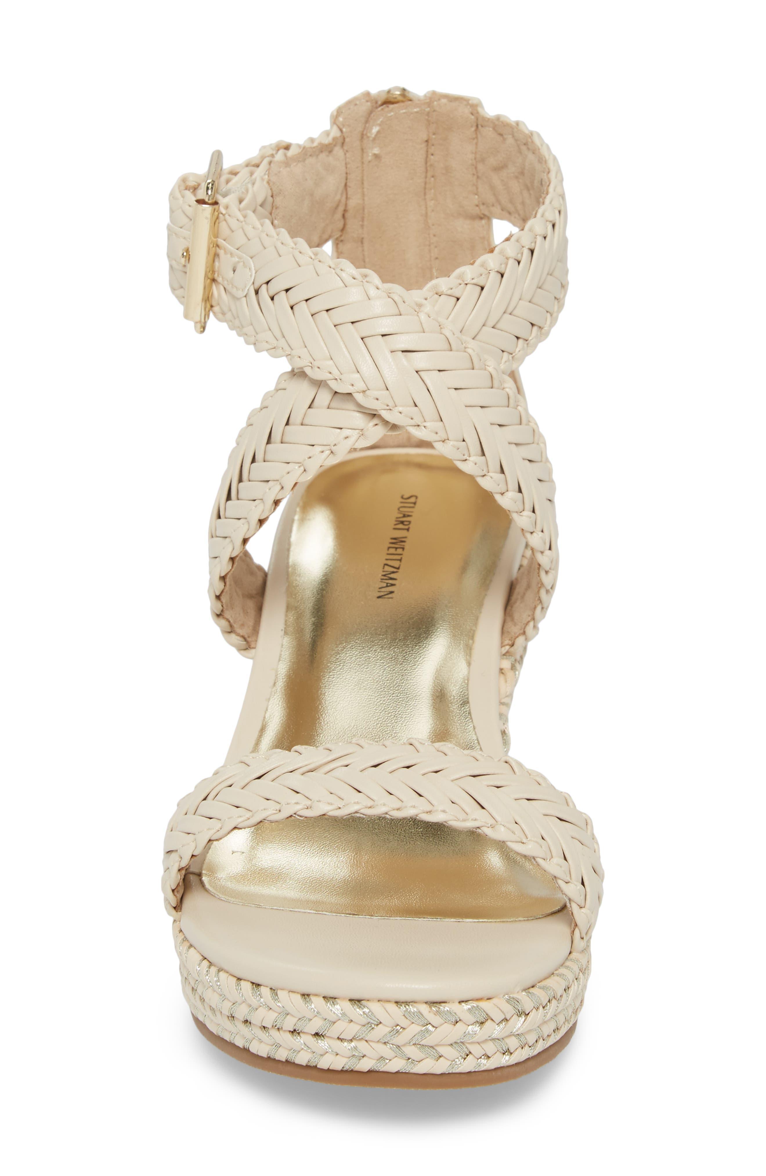 ,                             Akilah Sparkle Wedge Sandal,                             Alternate thumbnail 4, color,                             OFF WHITE