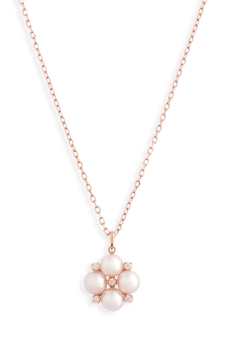 MIKIMOTO Pearl & Diamond Cluster Pendant Necklace, Main, color, ROSE GOLD