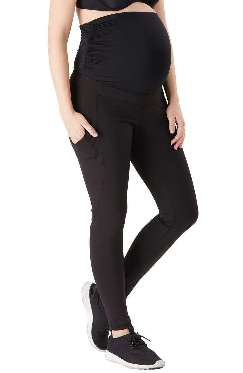 BELLY BANDIT<SUP>®</SUP> Power Pocket Maternity Leggings, Main, color, BLACK