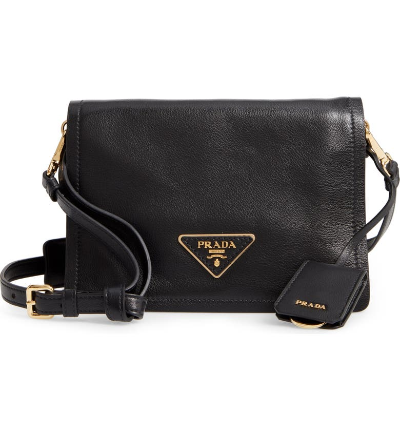 PRADA Small Glace Calfskin Leather Crossbody Bag, Main, color, NERO