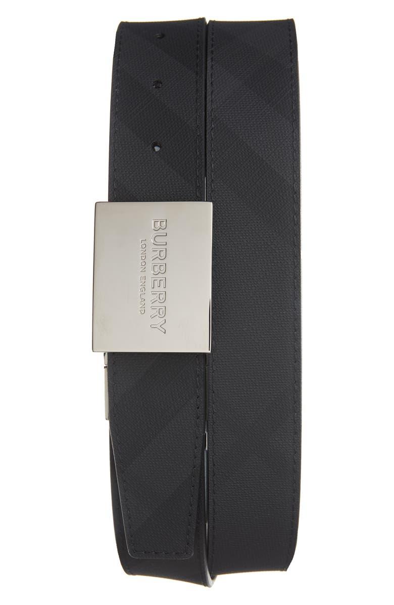 BURBERRY London Check Logo Plaque Belt, Main, color, DARK CHARCOAL/BLACK
