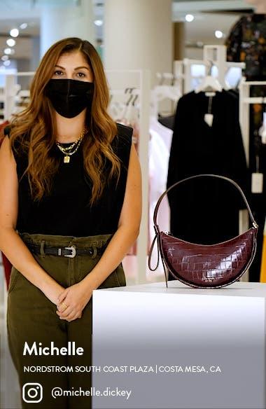 smile croc embossed leather shoulder bag, sales video thumbnail