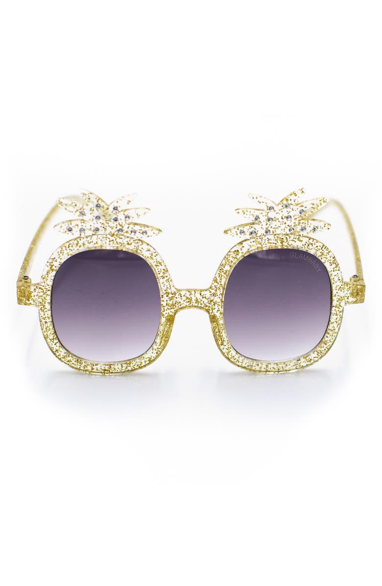 GLAMBABY Talia Pineapple Sunglasses, Main, color, YELLOW GLITTER