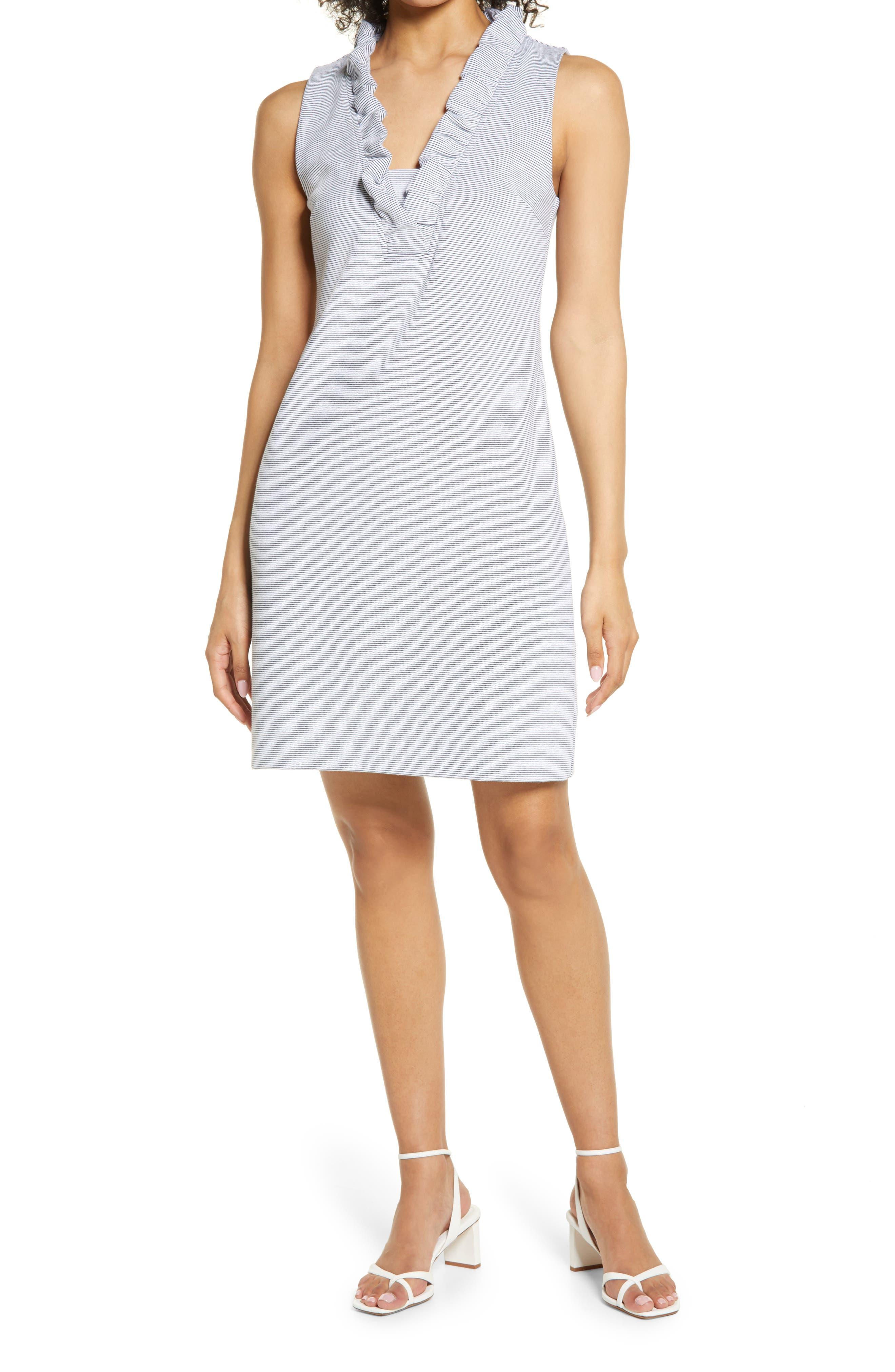 Women's Lilly Pulitzer Tisbury Stripe Ruffle Neck Shift Dress