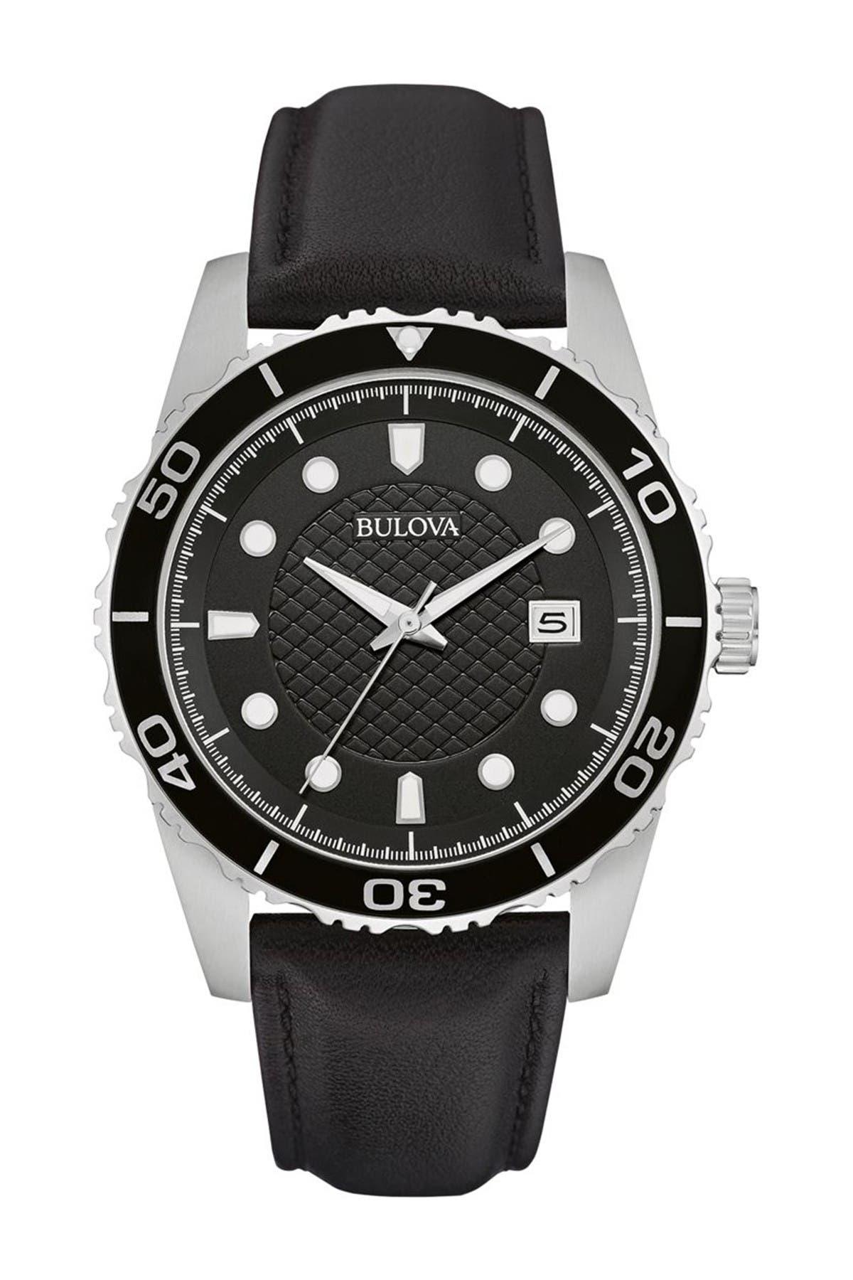 Image of Bulova Men's Quartz Leather Strap Watch, 43mm