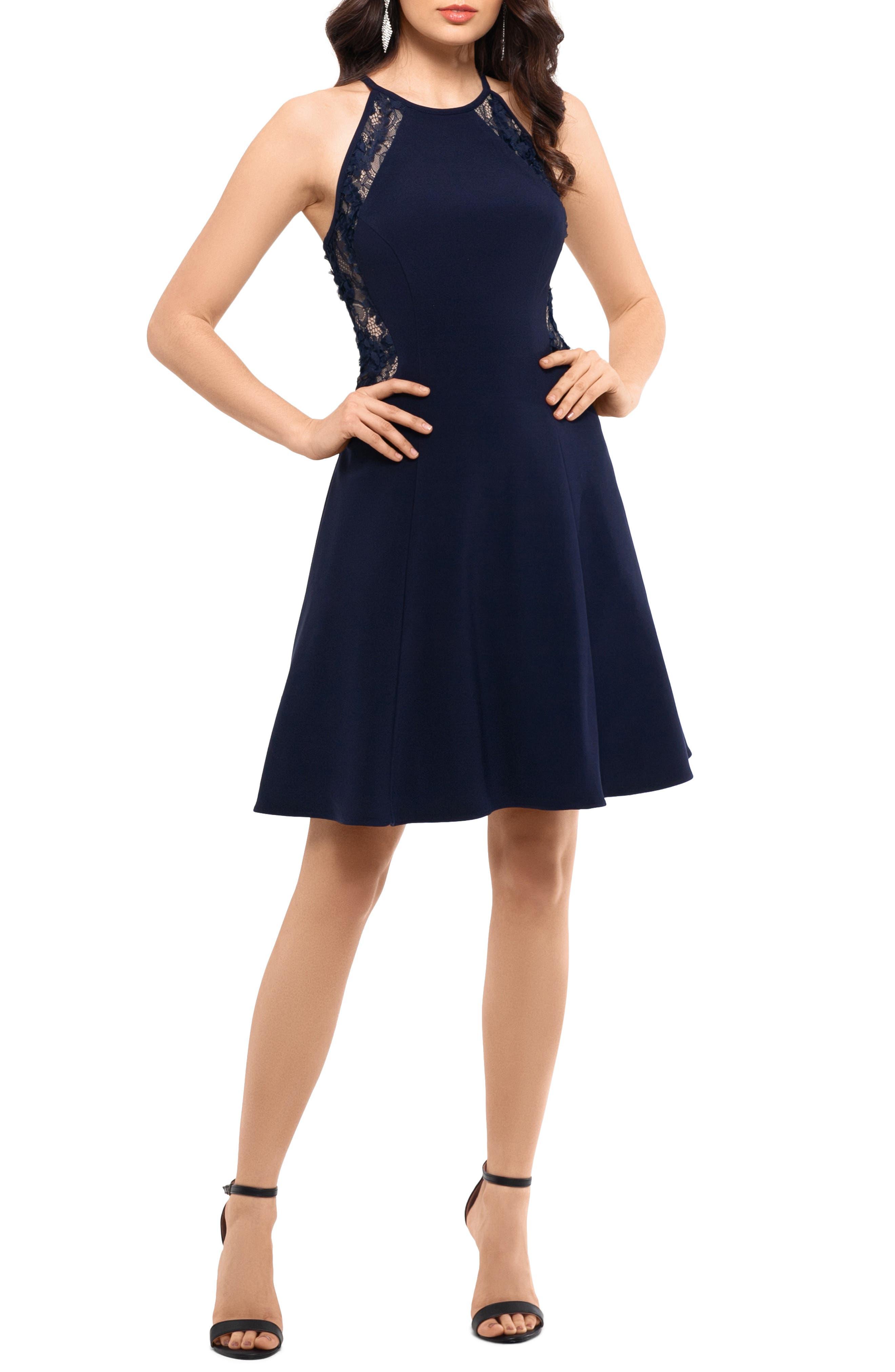 Xscape Lace & Scuba Crepe Fit & Flare Party Dress, Blue