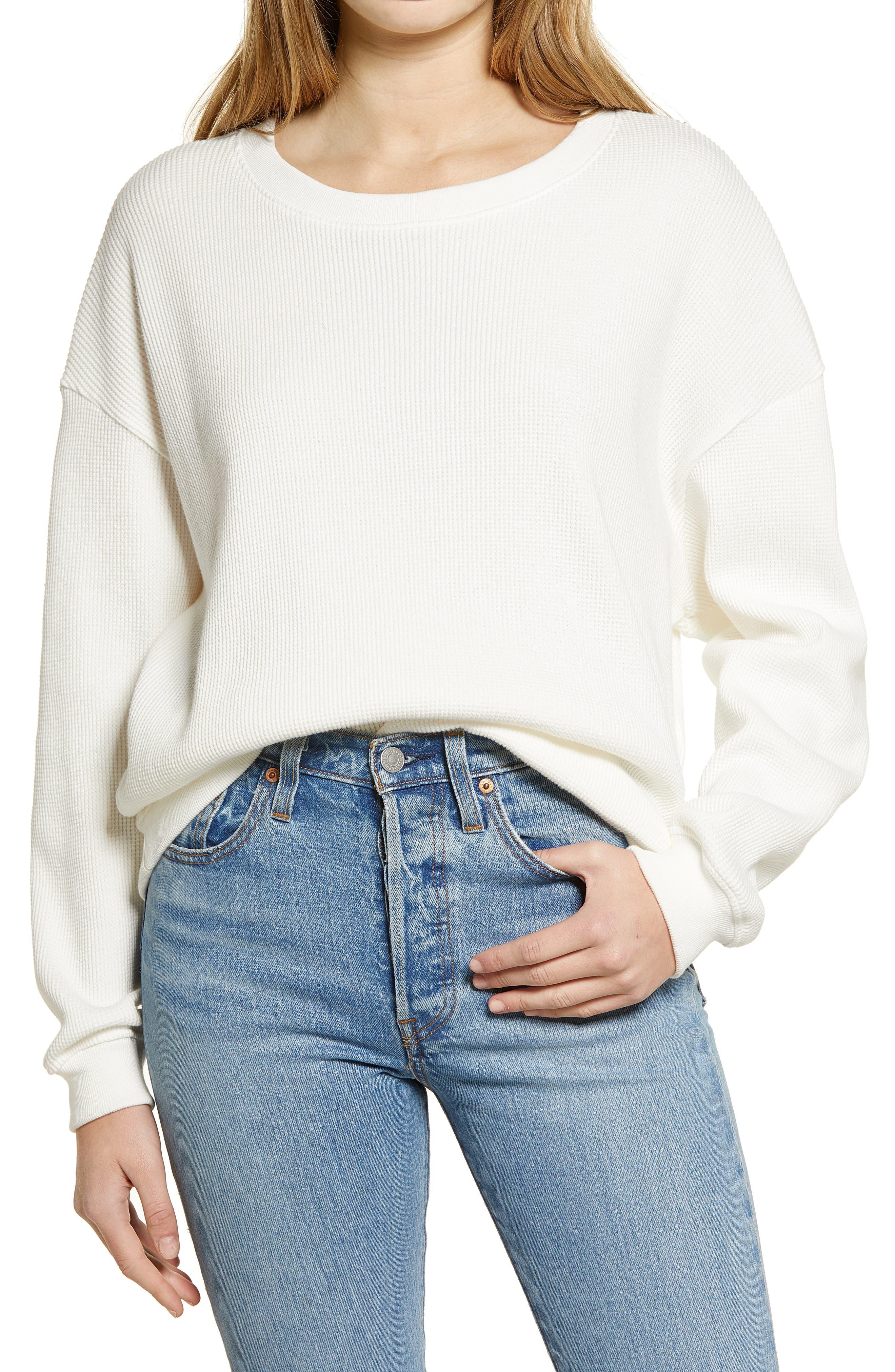 Waffle Knit Sweatshirt
