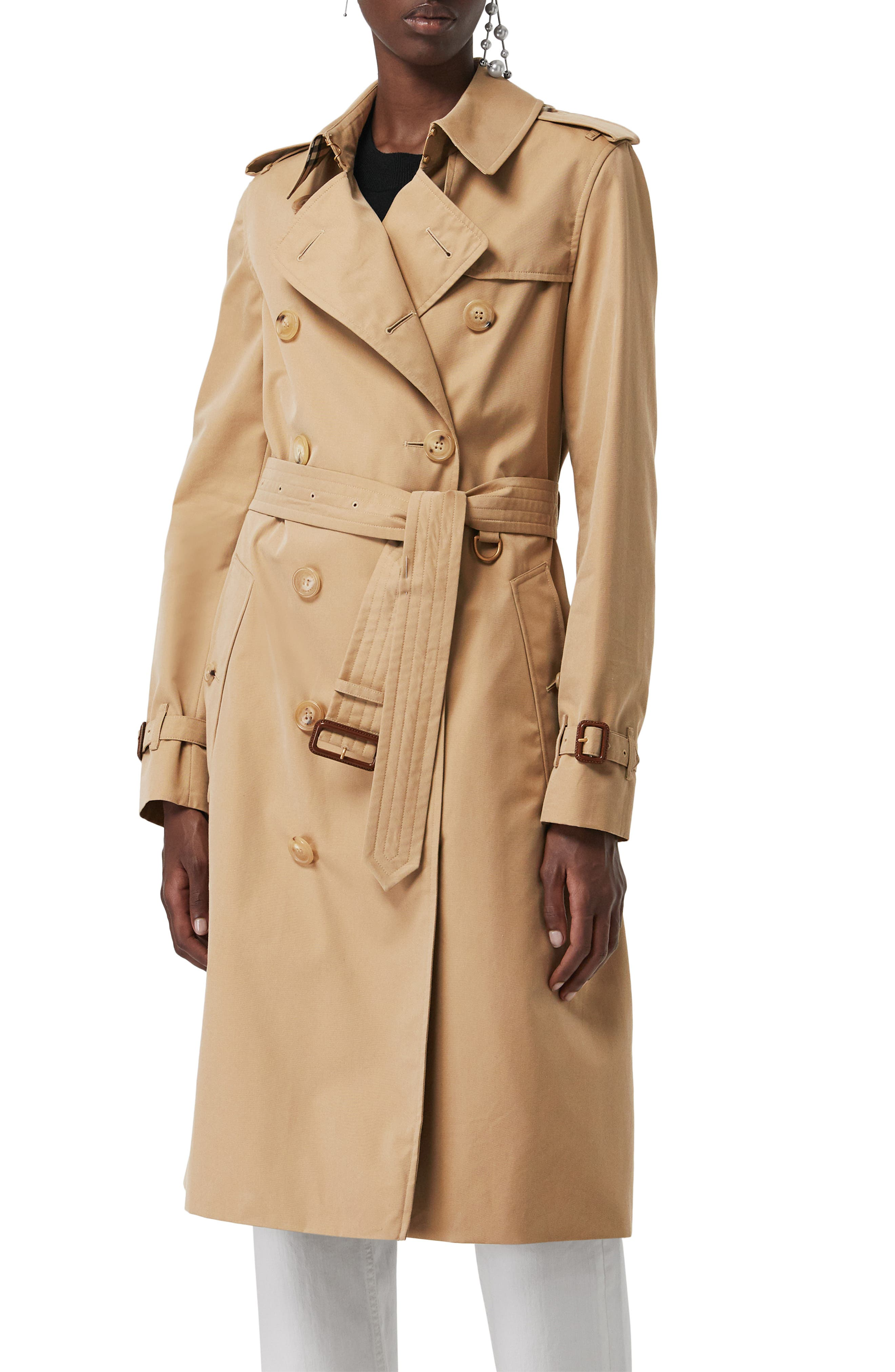 ,                             Kensington Long Trench Coat,                             Alternate thumbnail 5, color,                             DARK HONEY