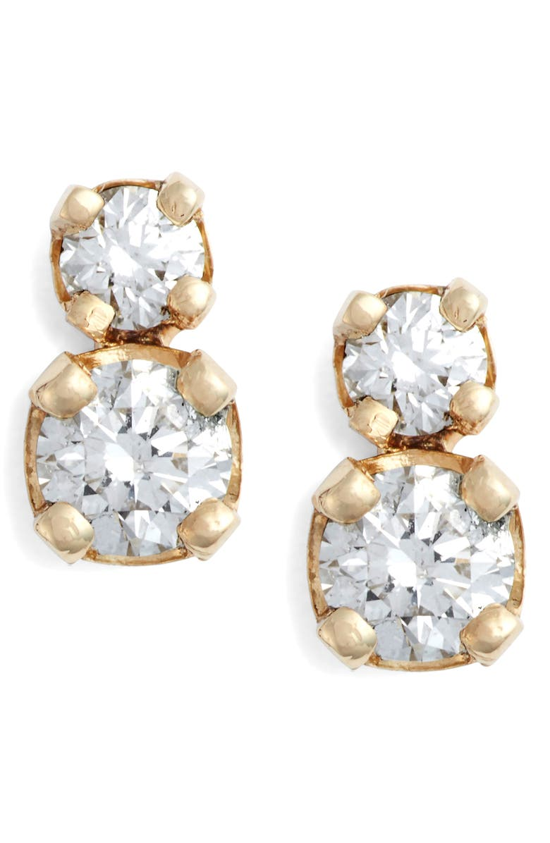 ZOË CHICCO Double Diamond Stud Earrings, Main, color, GOLD/ DIAMOND